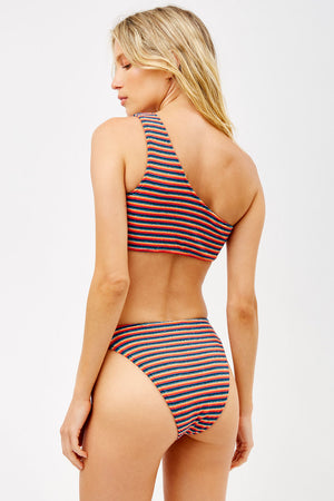 Frankies Bikinis Barb Sunset Stripe Terry One Shoulder Top