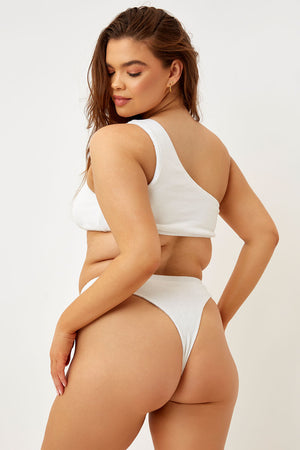 Frankies Bikinis Barb White Terry One Shoulder Top