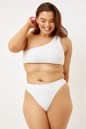 Frankies Bikinis Barb White Terry One Shoulder Top Extended Sizing