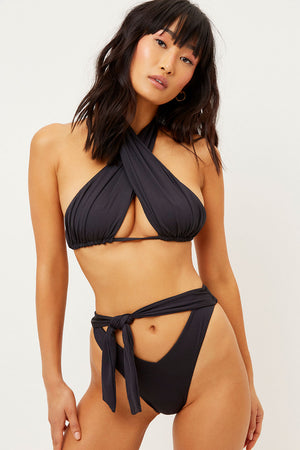Bash Black Front Tie Cheeky Bottom