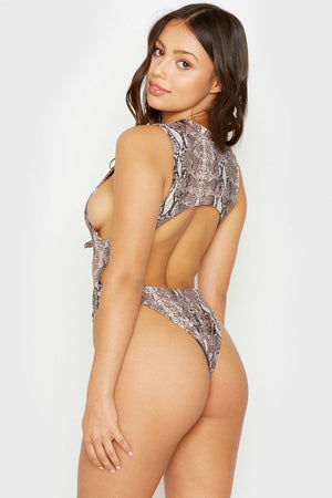 Frankies Bikinis Snakeprint Belle One Piece with Cheeky Coverage