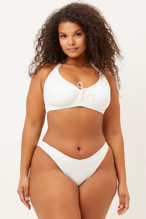 Bernie White Halter Scoop Top