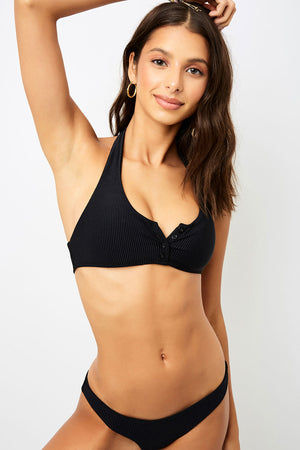 Frankies Bikinis Billy Black Halter Rib Top