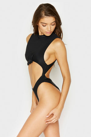 Frankies Bikinis Blake One Piece Black Rib Knotted Detail with Cheeky Coverage