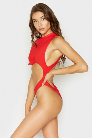 Frankies Bikinis Blake One Piece Red Rib Knotted Detail with Cheeky Coverage