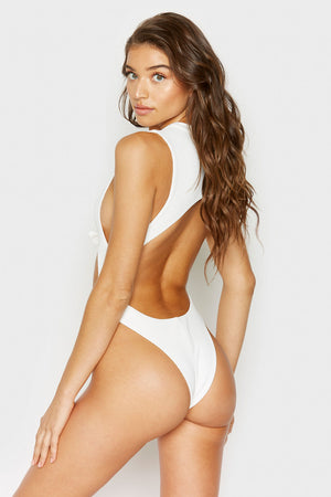 Frankies Bikinis Blake One Piece White Rib Knotted Detail with Cheeky Coverage