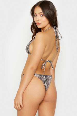 Frankies Bikinis Isabel Snakeprint Ring Details Skimpy Ribbed Bottoms