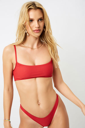 Frankies Bikinis Boots Cherry Ribbed Bralette Top