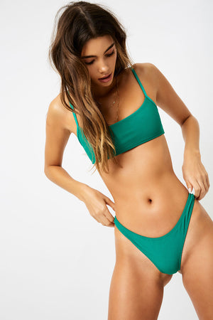 Frankies Bikinis Boots Emerald Ribbed Bralette Top
