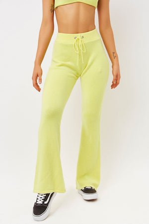 breakwater citronella yellow cashmere flare pants
