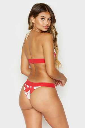 Frankies Bikinis Britt Bottom in Azalea Floral with Skimpy Coverage