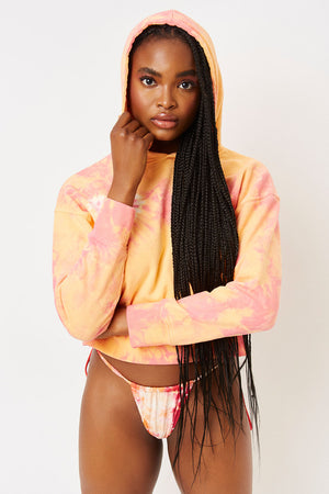 burl sherbet tie dye cropped sweatshirt with hood