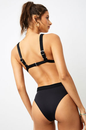 Frankies Bikinis Cali Black High Waist Cheeky Bottom