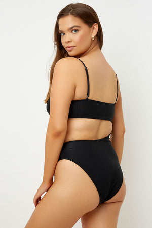 Frankies Bikinis Carter Black Ribbed High Leg One Piece with Cut Out Detail