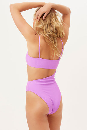 Carter Passionfruit Ribbed High Leg One Piece with Cut Out Detail