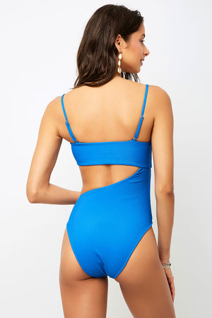 Carter Royal Ribbed High Leg One Piece with Cut Out Detail