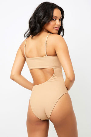 Frankies Bikinis Carter Sand Cut Out Cheeky One Piece