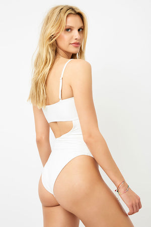 Frankies Bikinis Carter White Ribbed High Leg One Piece with Cut Out Detail