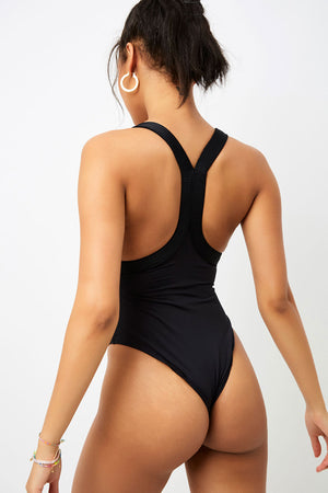 Frankies Bikinis Charlotte Black Cheeky One Piece