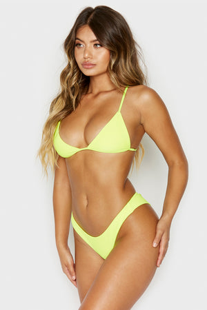 Frankies Bikinis Greer Lemon Drop Yellow Ribbed Cheeky Bottom Neon