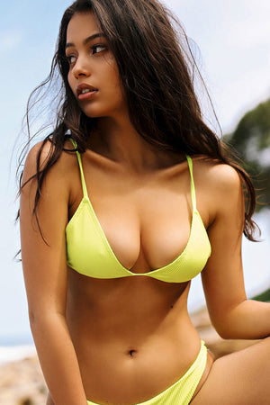Frankies Bikinis Chase Lemon Drop Yellow Ribbed Triangle Top Neon