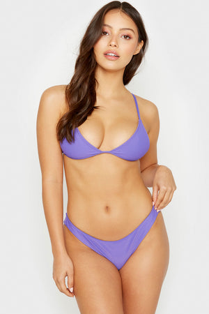 Frankies Bikinis Chase Amethyst Ribbed Triangle Top