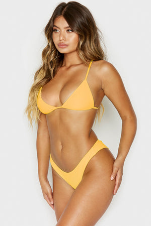 Frankies Bikinis Chase Tangerine Neon Ribbed Triangle Top 2019