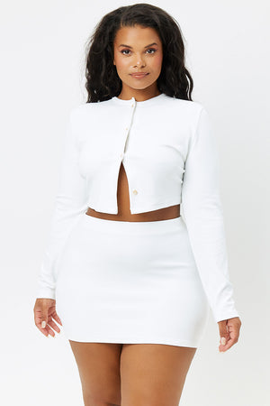 Cheri White Terry Cropped Cardigan Extended