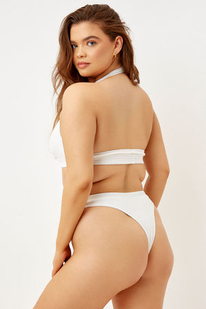 Frankies Bikinis Claire White High Waist Terry Bottom