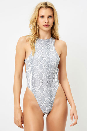 Frankies Bikinis Coastline Python High Neck One Piece