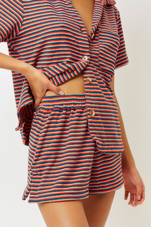 Coco Sunset Stripe Terry Button up Shirt