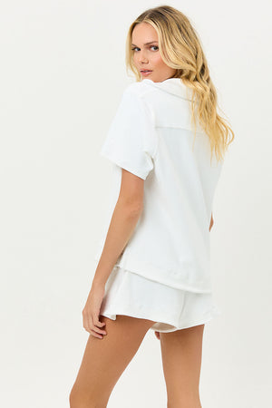 Coco White Terry Button up Shirt