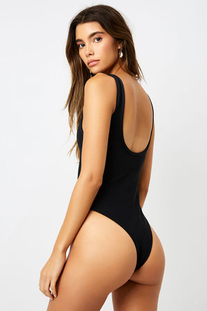Frankies Bikinis Cody Black Peek-a-boo Cheeky One Piece