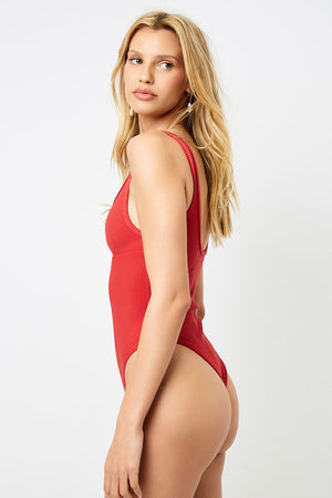 Frankies Bikinis Cody Cherry Peek-a-boo Cheeky One Piece