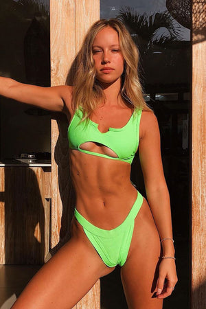 Frankies Bikinis Cole Acid Green Peek-a-boo Top