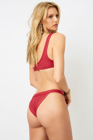 Frankies Bikinis Cole Cabernet Ribbed Cheeky Bottom