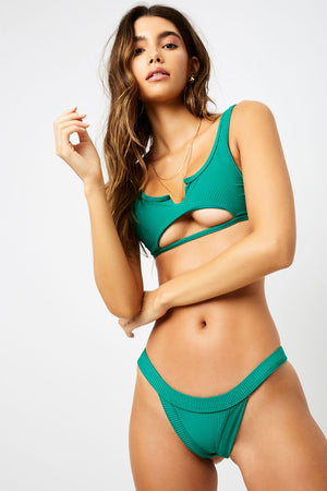 Frankies Bikinis Cole Emerald Ribbed Cheeky Bottom