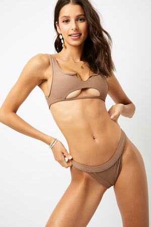 Frankies Bikinis Cole Brownie Ribbed Peek-a-boo Top