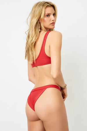 Frankies Bikinis Cole Cherry Ribbed Peek-a-boo Top
