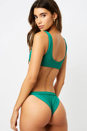 Frankies Bikinis Cole Emerald Ribbed Cut Out Bralette Top