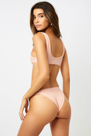 Frankies Bikinis Cole Peach Ribbed Peek-a-boo Top