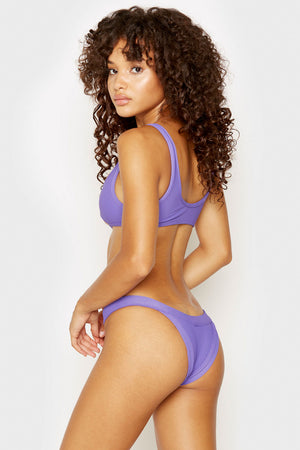 Frankies Bikinis Cole Amethyst Bottom with Ribbed Fabric and Cheeky Coverage
