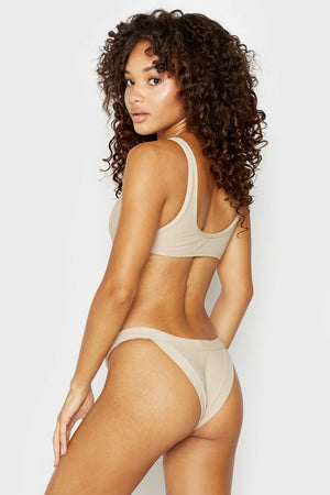 Frankies Bikinis Cole Latte Ribbed Top with Cut Out Detail