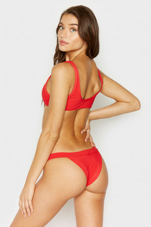 Frankies Bikinis Cole Red Ribbed Top with Cut Out Detail