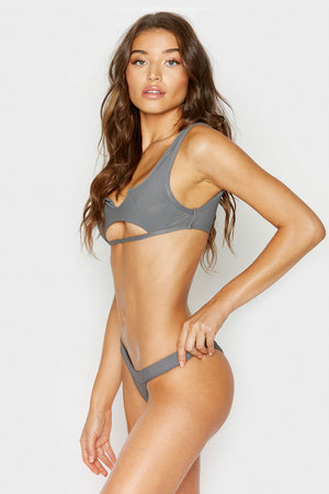 Frankies Bikinis Cole Caviar Bottom with Ribbed Fabric and Cheeky Coverage