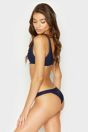 Frankies Bikinis Cole Navy Bottom with Ribbed Fabric and Cheeky Coverage