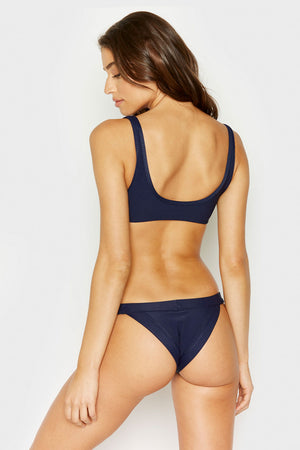 Frankies Bikinis Cole Navy Ribbed Top with Cut Out Detail