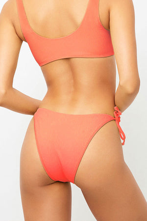 Frankies Bikinis Connor Coral Side Tie Cheeky Bottom