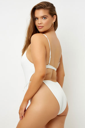 Frankies Bikinis Croft White High Leg Tie Waist One Piece Extended Sizing
