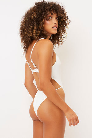 Frankies Bikinis Croft White High Leg Tie Waist One Piece